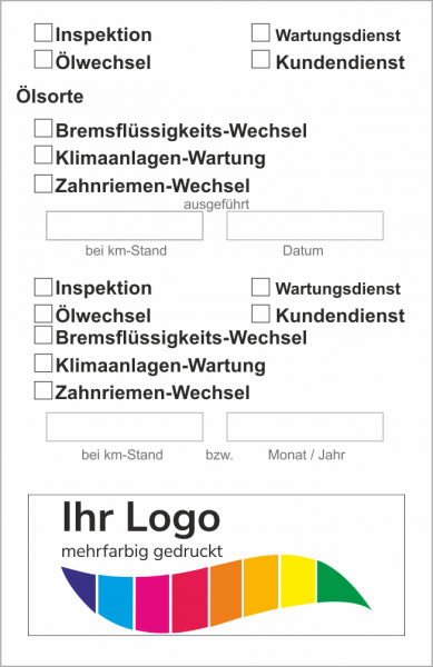 Checkliste, Service Aufkleber 55x85mm