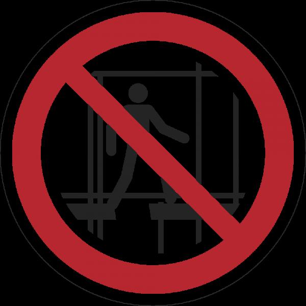 Benutzen des unvollständigen Gerüsts verboten ISO 7010-P025