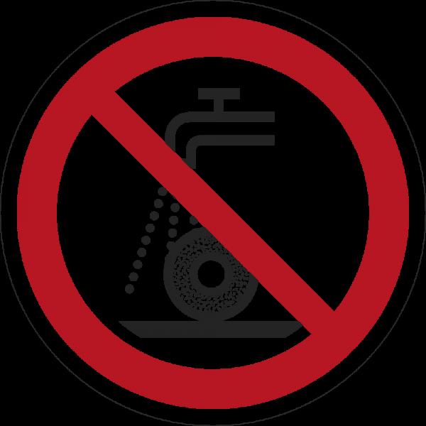 Nicht zulässig für Nassschleifen ISO 7010-P033