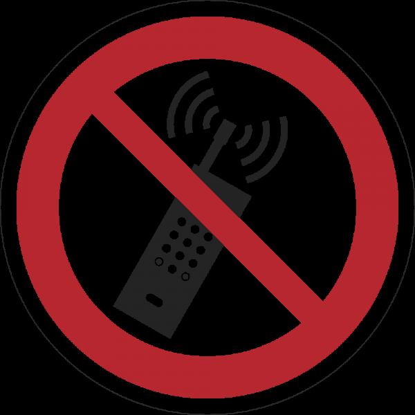 Eingeschaltete Mobiltelefone verboten ISO 7010-P013
