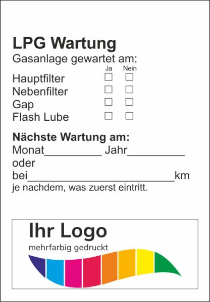 LPG Wartung, Service Aufkleber 45x65mm
