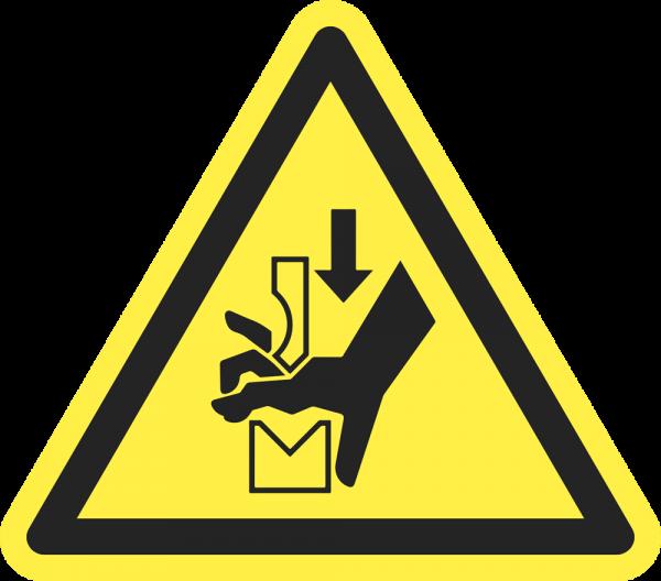 Warnung vor Quetschgefahr der Hand zwischen den Werkzeugen einer Presse ISO 7010-W029