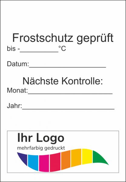 Frostschutz geprüft, Service Aufkleber 45x65mm