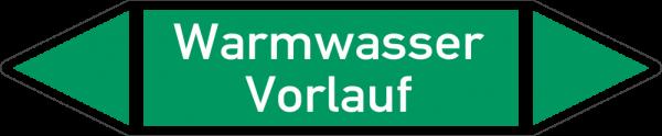 Rohrleitungskennzeichnungen - Warmwasser Vorlauf