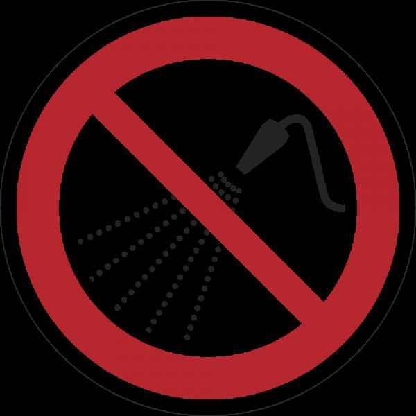 Mit Wasser spritzen verboten ISO 7010-P016