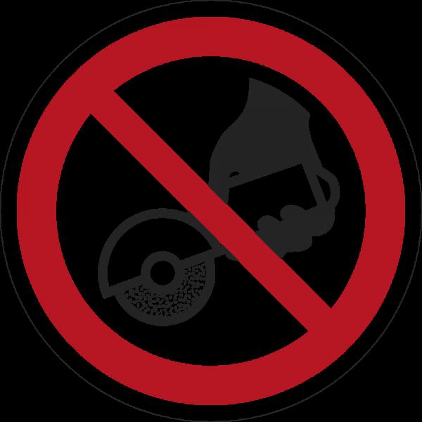 Nicht zulässig für Freihand- und handgeführtes Schleifen ISO 7010-P034