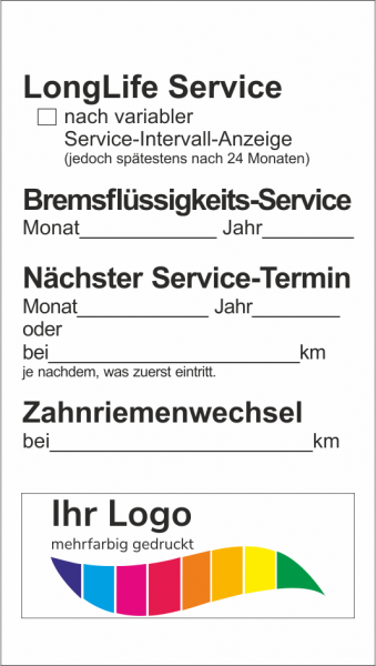 LongLife Service, Service Aufkleber 45x80mm