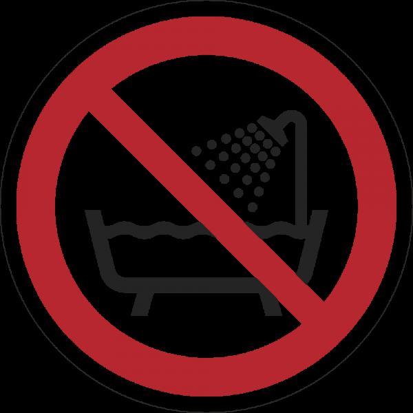 Verbot dieses Gerät in der Badewanne oder Dusche zu benutzen ISO 7010-P026