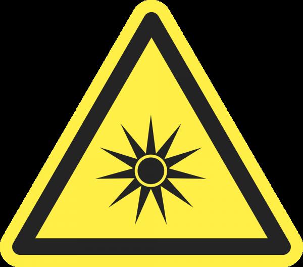 Warnung vor optischer Strahlung ISO 7010-W027