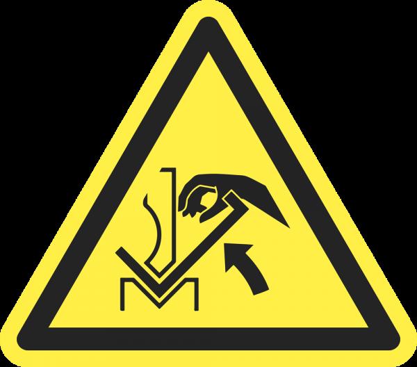 Warnung vor Quetschgefahr der Hand zwischen Presse und Werkstück ISO 7010-W031