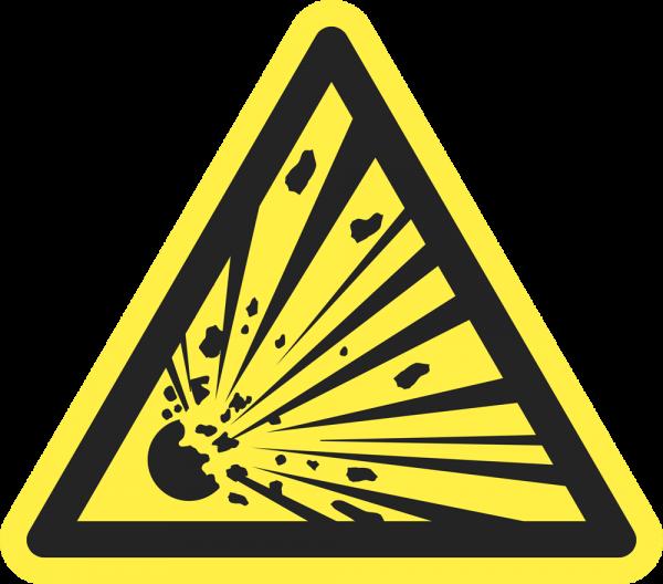 Warnung vor explosionsgefährlichen Stoffen ISO 7010-W002
