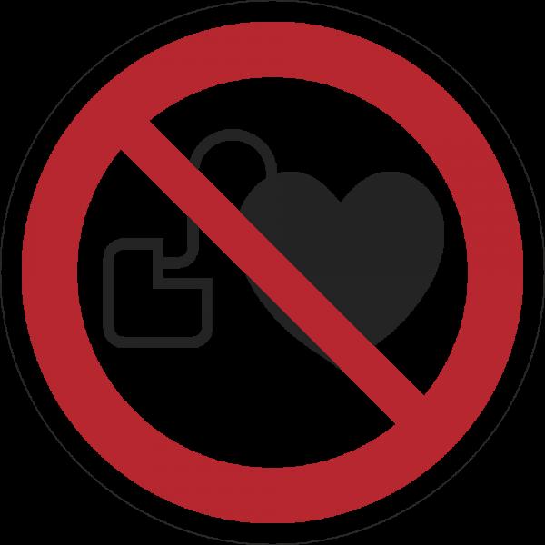 Kein Zutritt für Personen mit Herzschrittmachern oder implantierten Defibrilatoren ISO 7010-P007