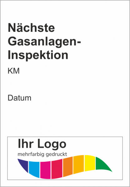 Nächste Gasanlagen-Inspektion, Service Aufkleber 45x65mm