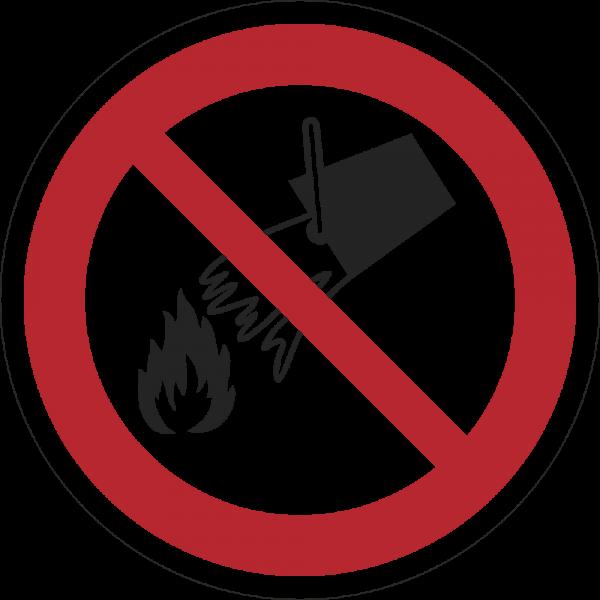Mit Wasser löschen verboten ISO 7010-P011