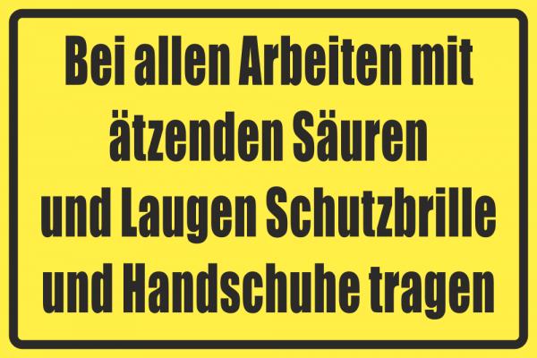 Betriebskennzeichnung Schutzebrille und Handschuhe
