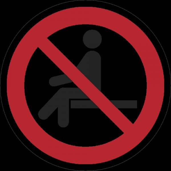 Sitzen verboten ISO 7010-P018