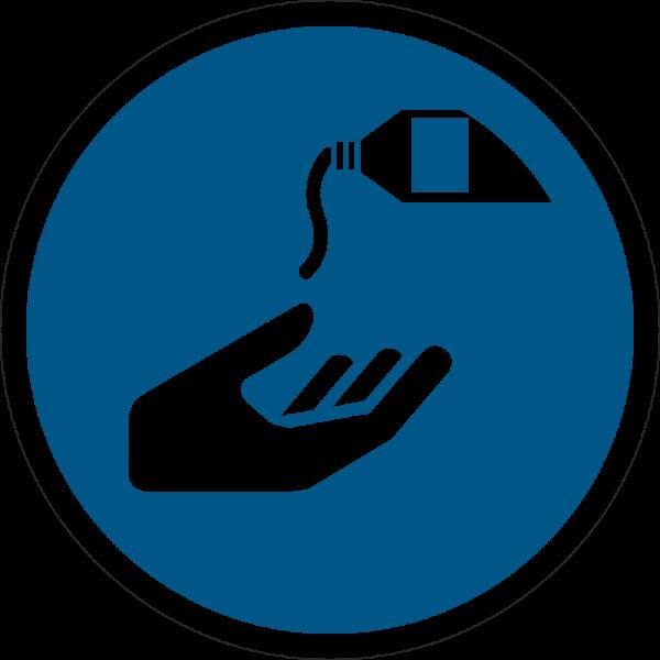 Hautschutzmittel benutzen ISO 7010-M022