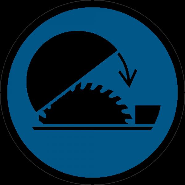 Schhutzhaube der Tischkreissäge benutzen ISO 7010-M031