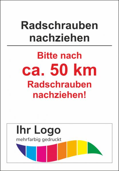 Radschrauben nachziehen, Service Aufkleber 45x65mm