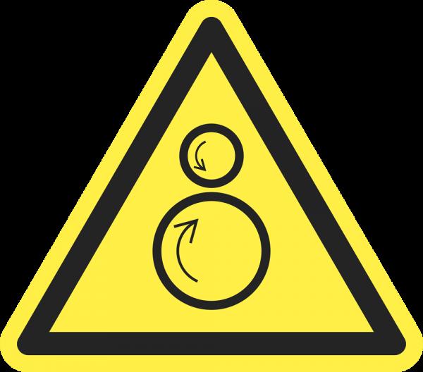 Warnung vor gegenläufigen Rollen ISO 7010-W025