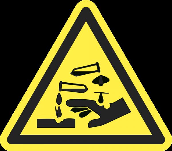 Warnung vor ätzenden Stoffen ISO 7010-W022
