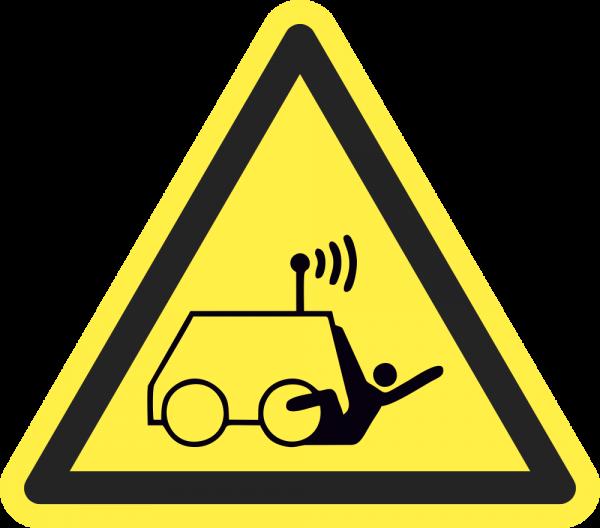 Warnung vor Überrollen durch ferngesteuerte Maschine ISO 7010-W037