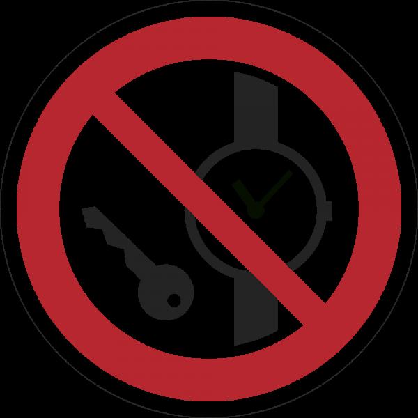 Mitführen von Metalteilen oder Uhren verboten ISO 7010-P008