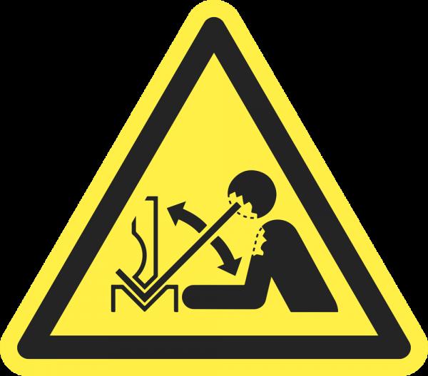 Warnung vor hochschnellendem Werkstück in einer Presse ISO 7010-W032