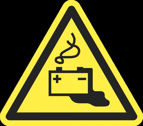 Warnung vor Gefahren durch das Aufladen von Batterien ISO 7010-W026
