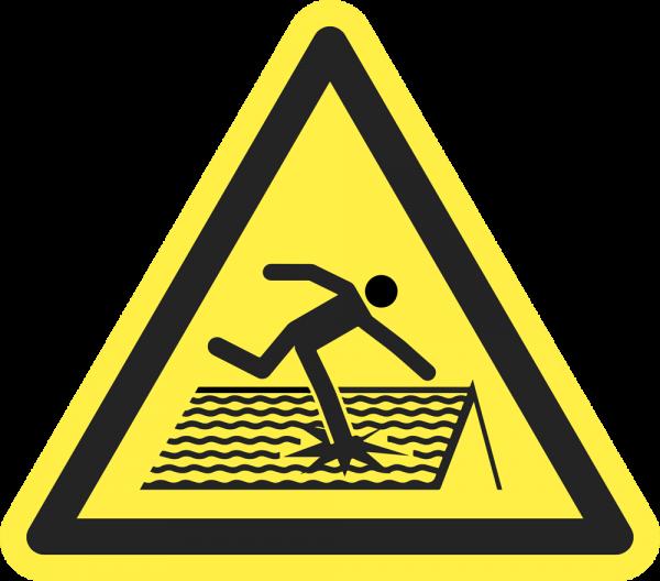 Warnung vor nicht durchtrittsicherem Dach ISO 7010-W036