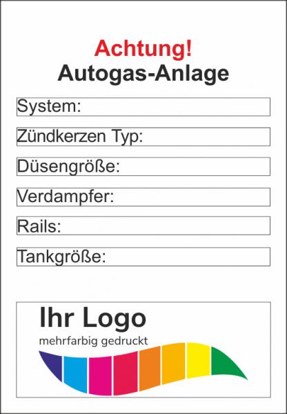 Autogas-Anlage, Service Aufkleber 45x65mm